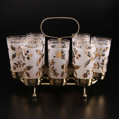 Mid Century Modern Highball Glasses in Metal Caddy, Mid to Late 20th Century