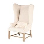 "Restoration Hardware Linen-Upholstered Hardwood ""French"" Wingback Armchair"