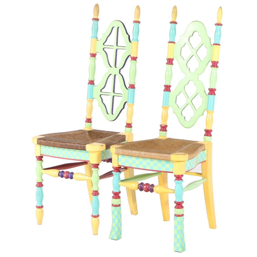 Two Paint-Decorated Side Chairs, Style of Mackenzie-Childs, 20th Century