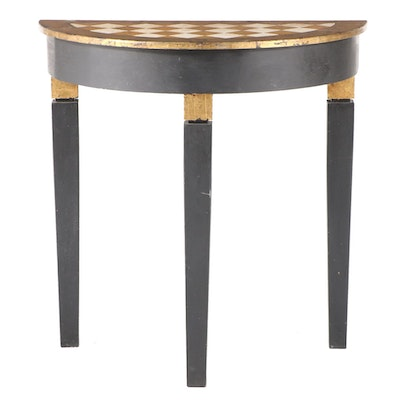 Ebonized, Painted, and Parcel-Gilt Counter-Height Demilune Console Table