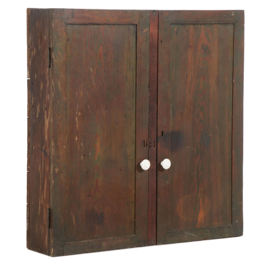 Primitive Wooden Two-Door Cabinet, Early to Mid 20th Century