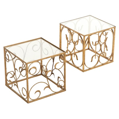 Pair of Scrolled Gilt Metal and Glass Top Cube End Tables