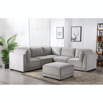 """""""Belize"""" Six-Piece Fabric Upholstered Modular Sectional"""