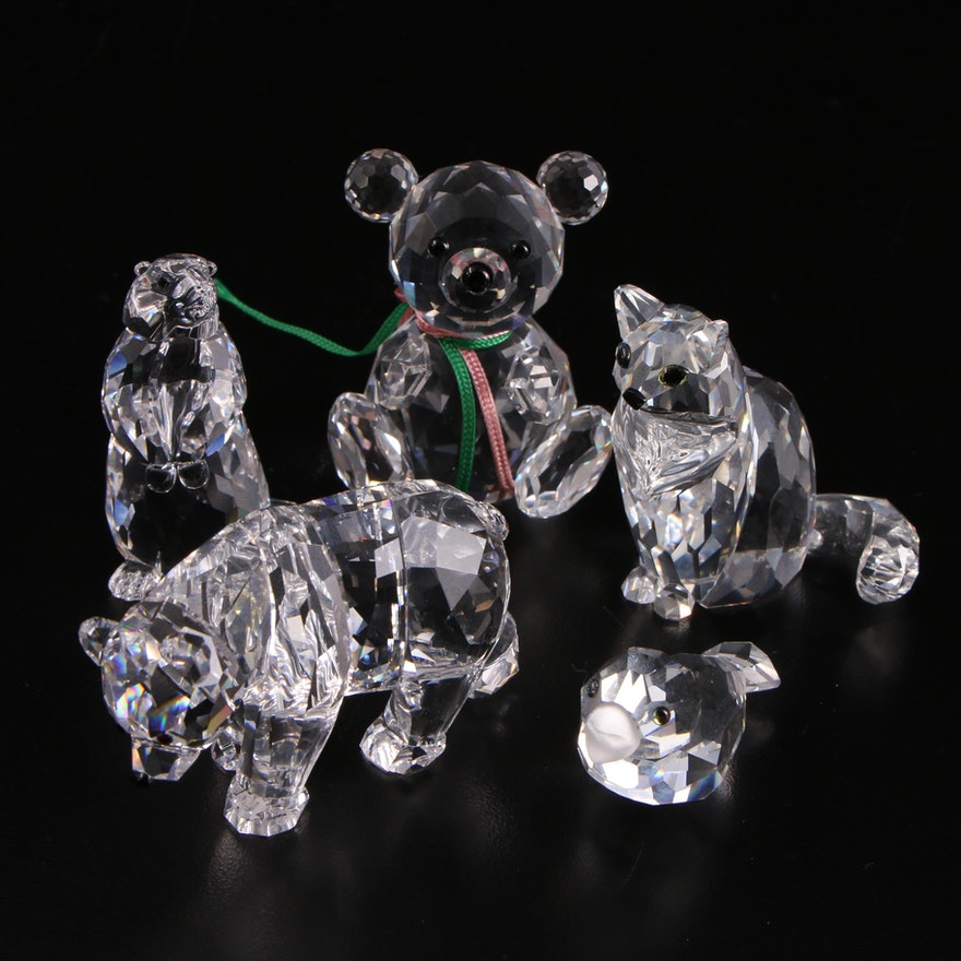 """Swarovski """"Sister Bear"""", """"Cat Sitting"""" and Other Crystal Figurines"""