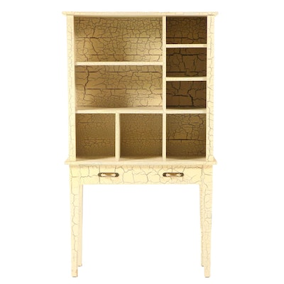 Crackle-Painted Bookcase-on-Stand