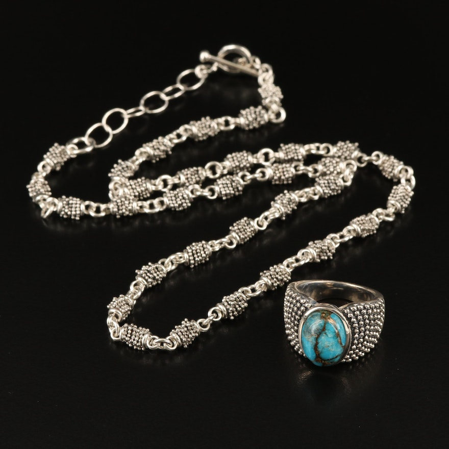 Michael Dawkins Sterling Silver Turquoise Ring and Necklace