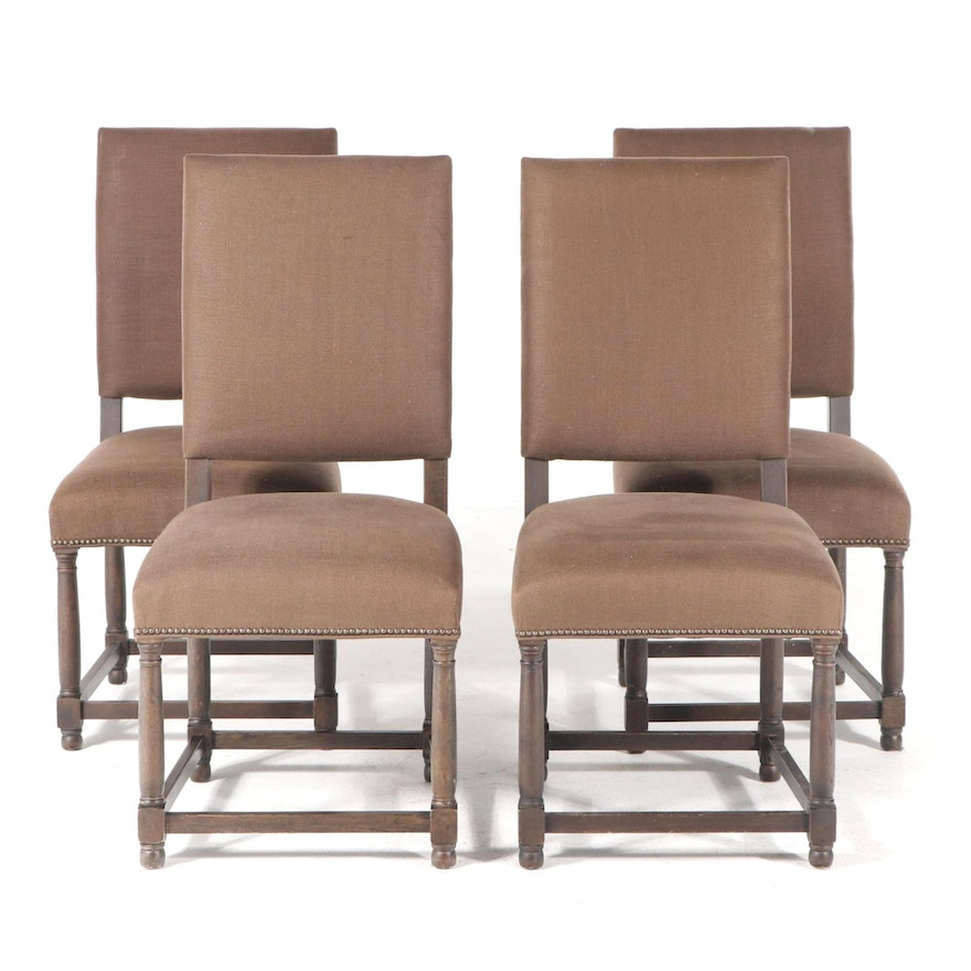 """Four Restoration Hardware """"Empire Parsons"""" Upholstered Oak Side Chairs"""