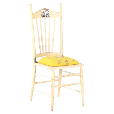 American Cream-Painted and Needlepoint Side Chair, Early 20th Century