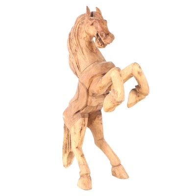 Hand Carved Hardwood Rearing Horse Sculpture