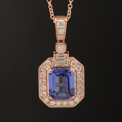 14K ROSE GOLD DIAMOND, TANZANITE PENDANT