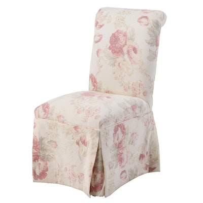 Floral-Upholstered Parsons Chair with Additional Slip Cover, Late 20th Century