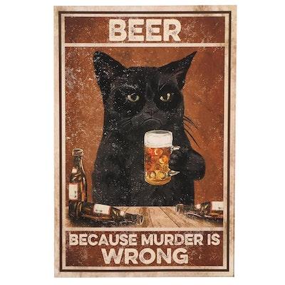 Black Cat Drinking Beer Giclée, 21st Century