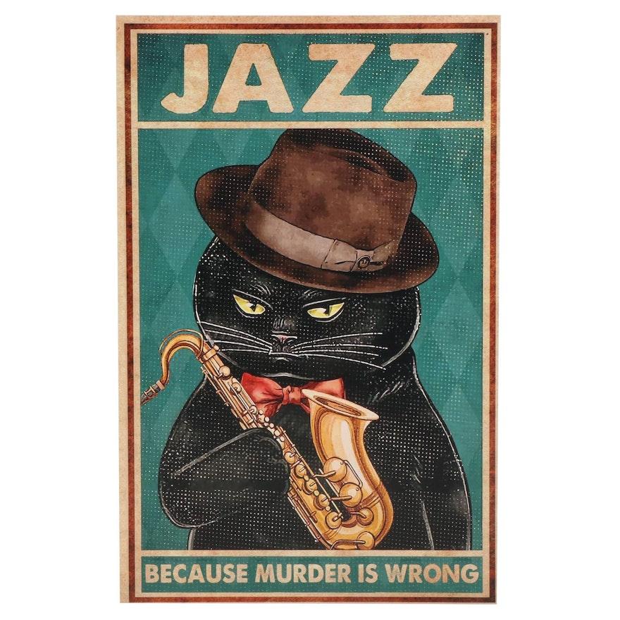 Black Cat Holding Saxophone Giclée, 21st Century