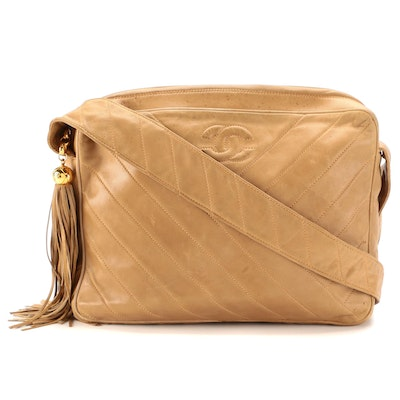 Chanel CC Messenger Bag in Bias Stitch Quilted Lambskin Leather with Tassel