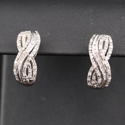 Sterling Silver Diamond Crisscross J Hoop Earrings