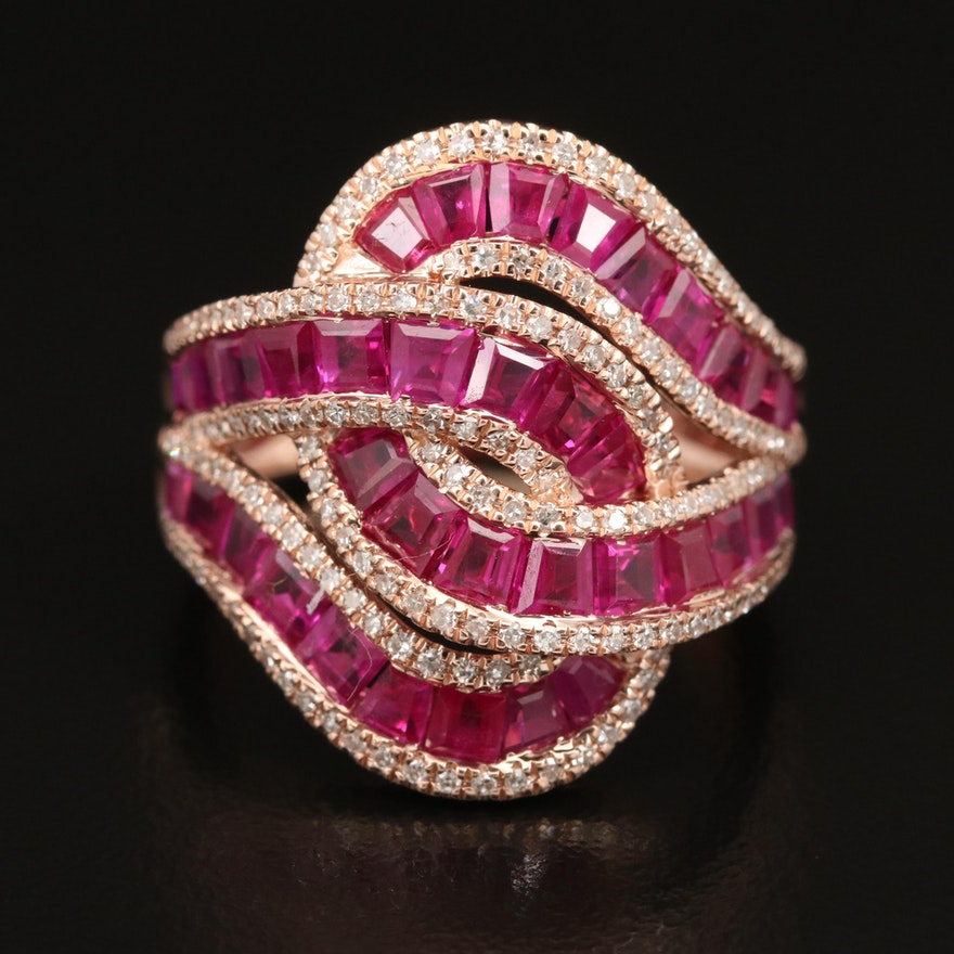 14K ROSE GOLD DIAMOND, NATURAL RUBY RING