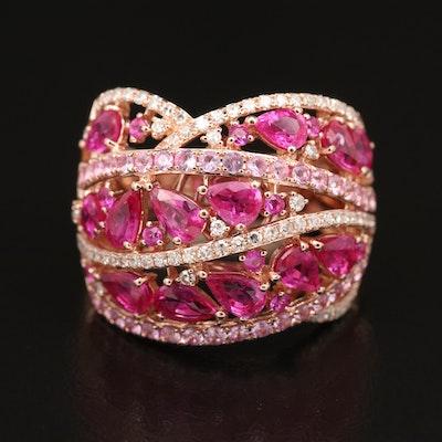 14K ROSE GOLD DIAMOND, PINK SAPPHIRE RING