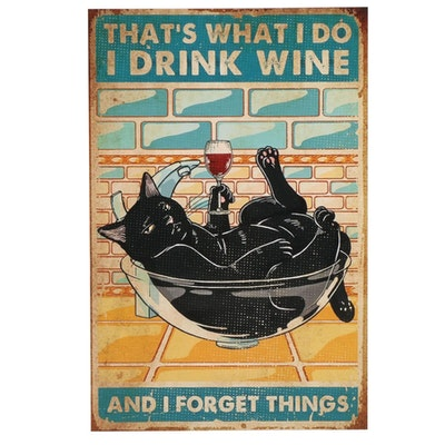 Black Cat Drinking Wine Giclée, 21st Century