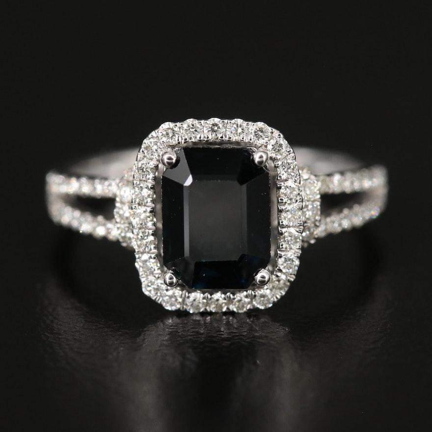 14K WHITE GOLD DIAMOND, NATURAL DIFFUSED CEYLON SAPPHIRE RING