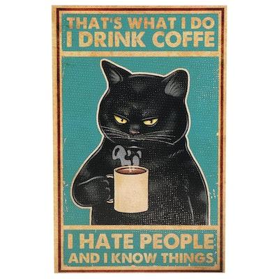 Black Cat Drinking Coffee Giclée, 21st Century