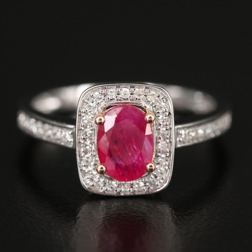 EFFY 14K WHITE & ROSE GOLD DIAMOND, NATURAL MOZAMBIQUE RUBY RING