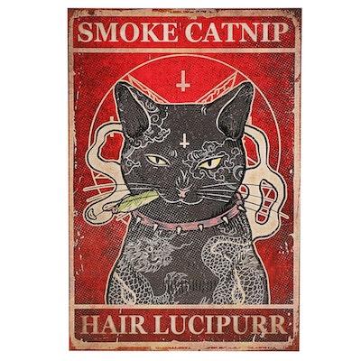 Black Cat Smoking Joint Giclée, 21st Century