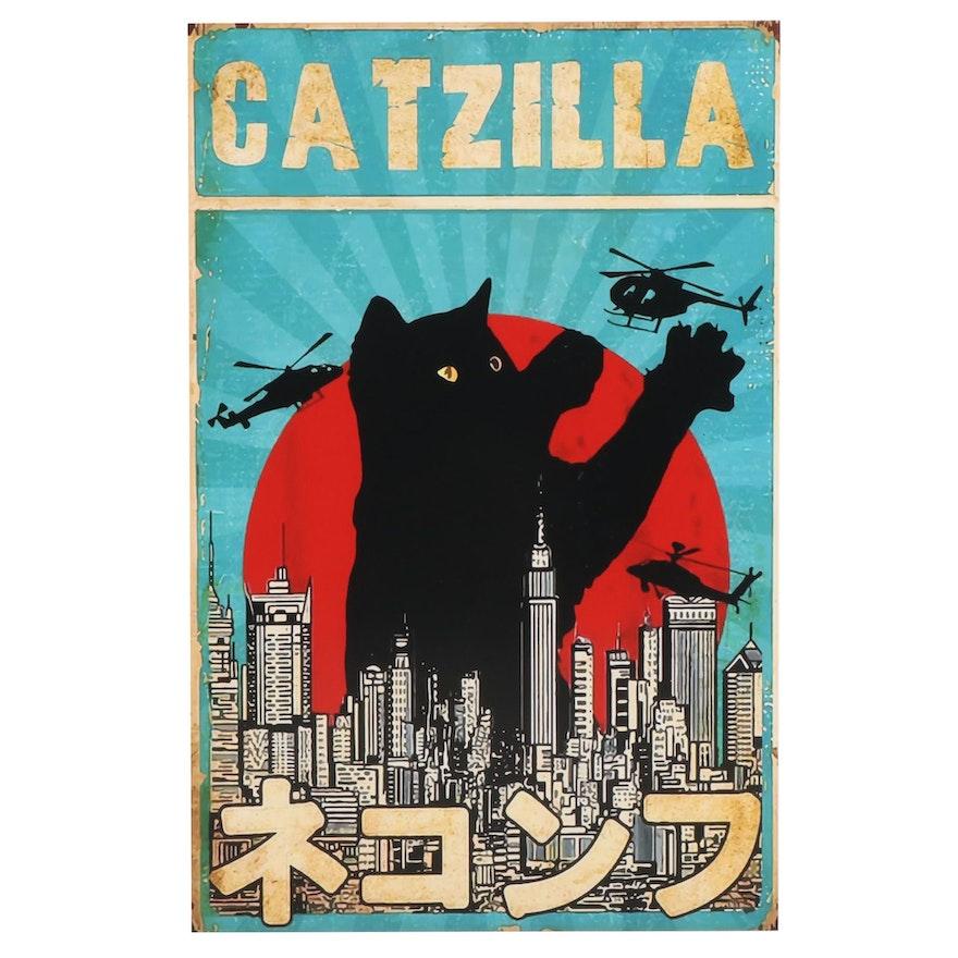 "Black Cat Giclée ""Catzilla,"" 21st Century"