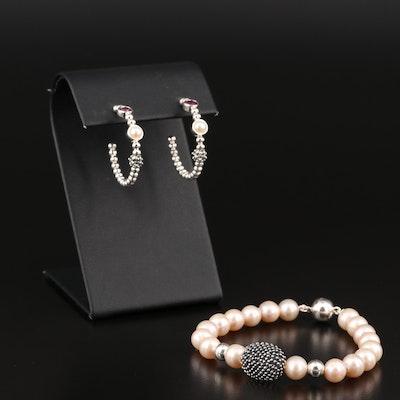 Michael Dawkins Pearl Bracelet and Rhodolite Garnet Earrings