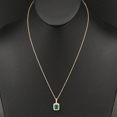 EFFY 14K YELLOW GOLD DIAMOND, NATURAL EMERALD PENDANT