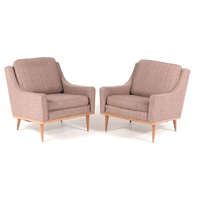 Pair of Mid Century Modern Upholstered Walnut Club Chairs