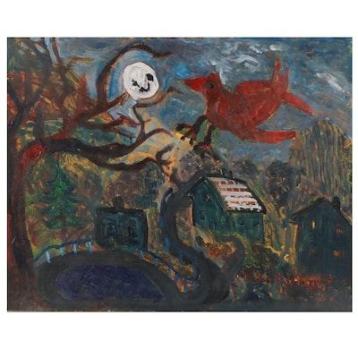 Robert Wright Folk Art Acrylic Painting of Nocturnal Scene