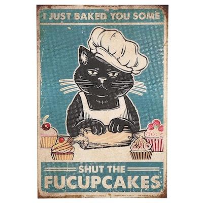 Black Cat Baking Cupcakes Giclée, 21st Century
