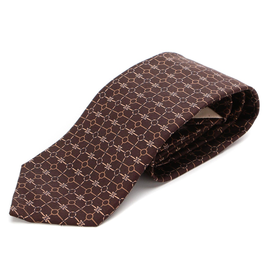 Céline Patterned Silk Twill Tie