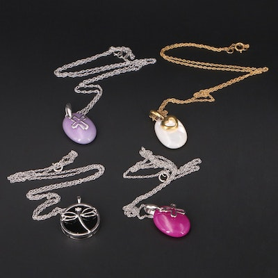 Necklaces with Sterling, Quartzite, Diamond and Cross