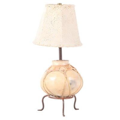 Hide-Bound Earthenware Pot-on-Stand Table Lamp