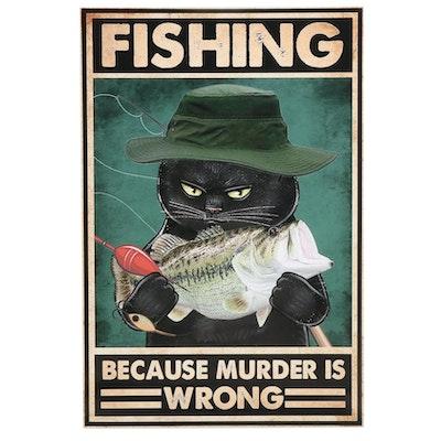 Black Cat Fishing Giclée, 21st Century