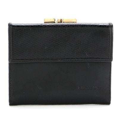 Christian Dior Black Calfskin Leather Card Case Wallet
