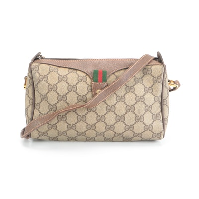 Gucci Accessory Collection Crossbody Bag in GG Supreme Canvas with Leather Trim