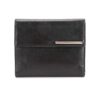 Prada Trifold Wallet in Black Lambskin Leather