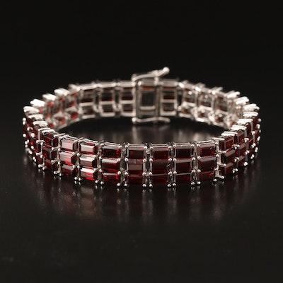 Sterling and Garnet Triple-Line Bracelet