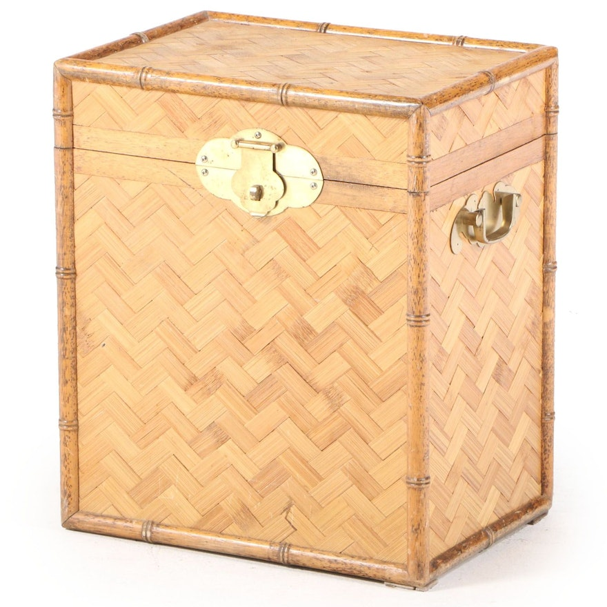 Brass-Mounted Bamboo, Splint-Woven Bamboo, and Wood Hinged-Lid Chest