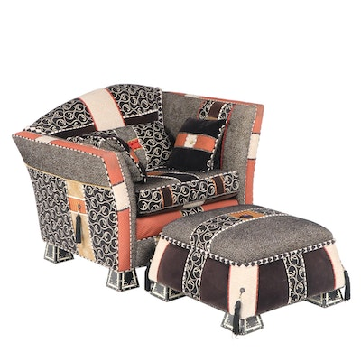 Robert A. Harmon Custom-Upholstered & Painted Club Chair and Ottoman, dated 2004