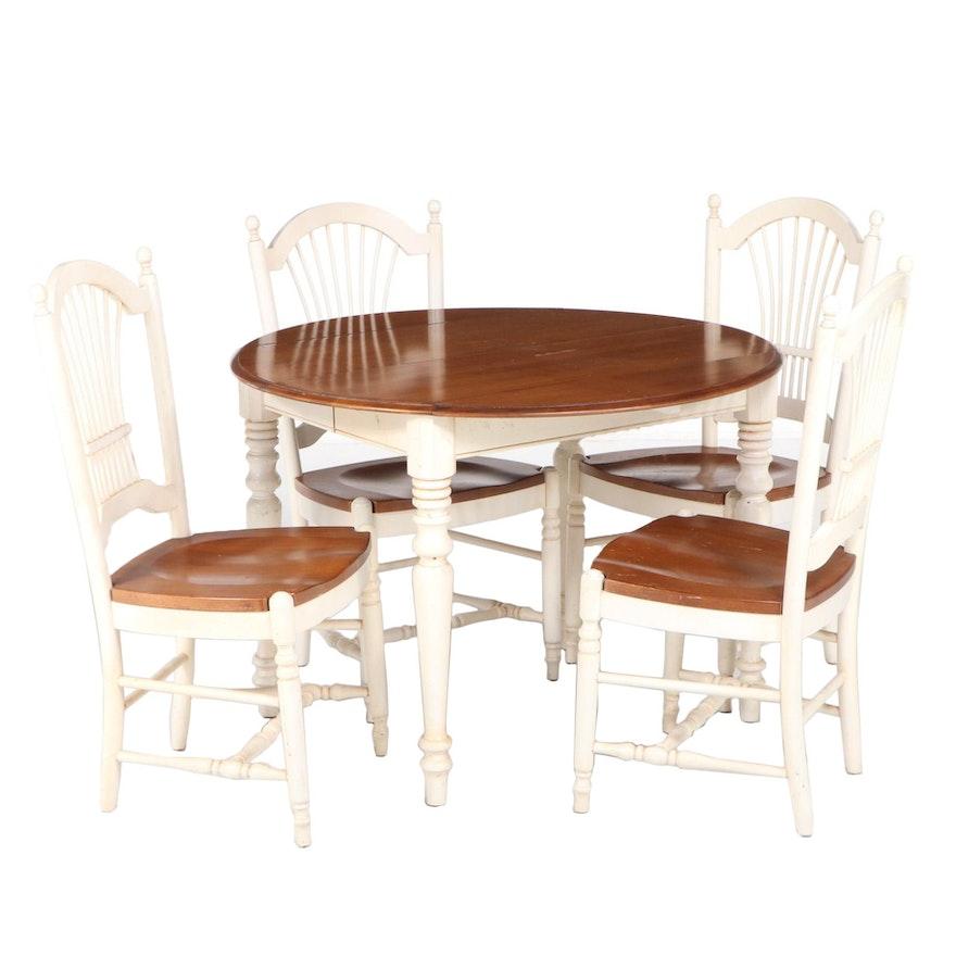 Five-Piece Ethan Allen Primitive Style Maple and Parcel-Painted Dining Set