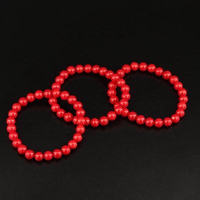 Expandable Coral Bead Bracelet Set