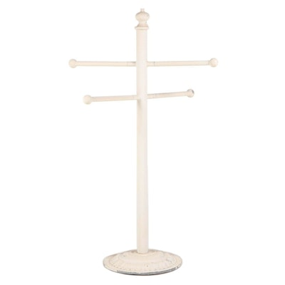 White-Painted and Cast Aluminum Free Standing Towel Rack