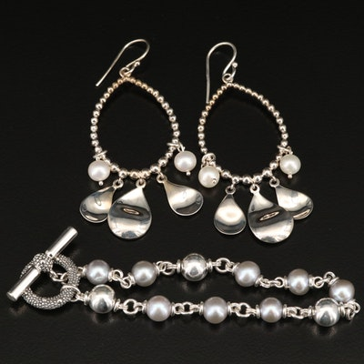 Michael Dawkins Sterling Silver and Pearl Bracelet and Earrings