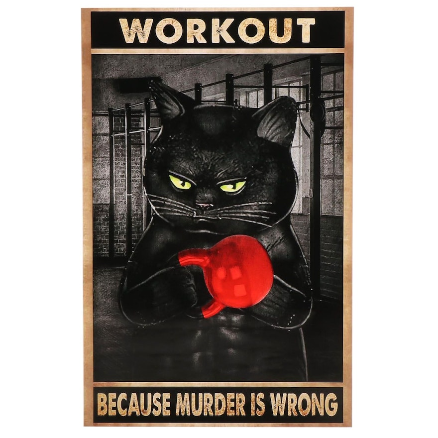 Giclée of Cat Working Out, 21st Century