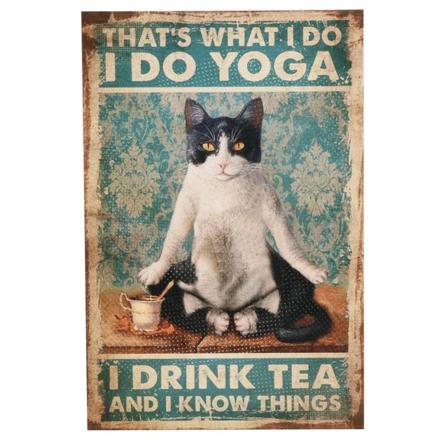 Giclée of Cat Doing Yoga, 21st Century