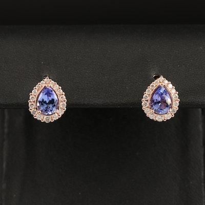 EFFY 14K ROSE GOLD DIAMOND, TANZANITE EARRINGS