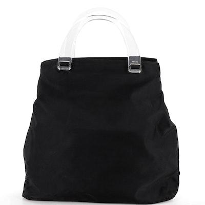 Prada Tote Bag in Black Tessuto Nylon with Transparent Handles